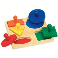 Geometric Shapes Board Knob Puzzle for Toddlers