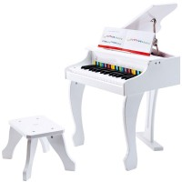 Deluxe White Grand Piano Electronic Musical Instrument