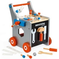 Brico Kids Magnetic DIY Trolley Wooden Tool Cart Set