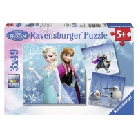 Winter Adventures 49 pc Disney Frozen 3 Puzzles Set