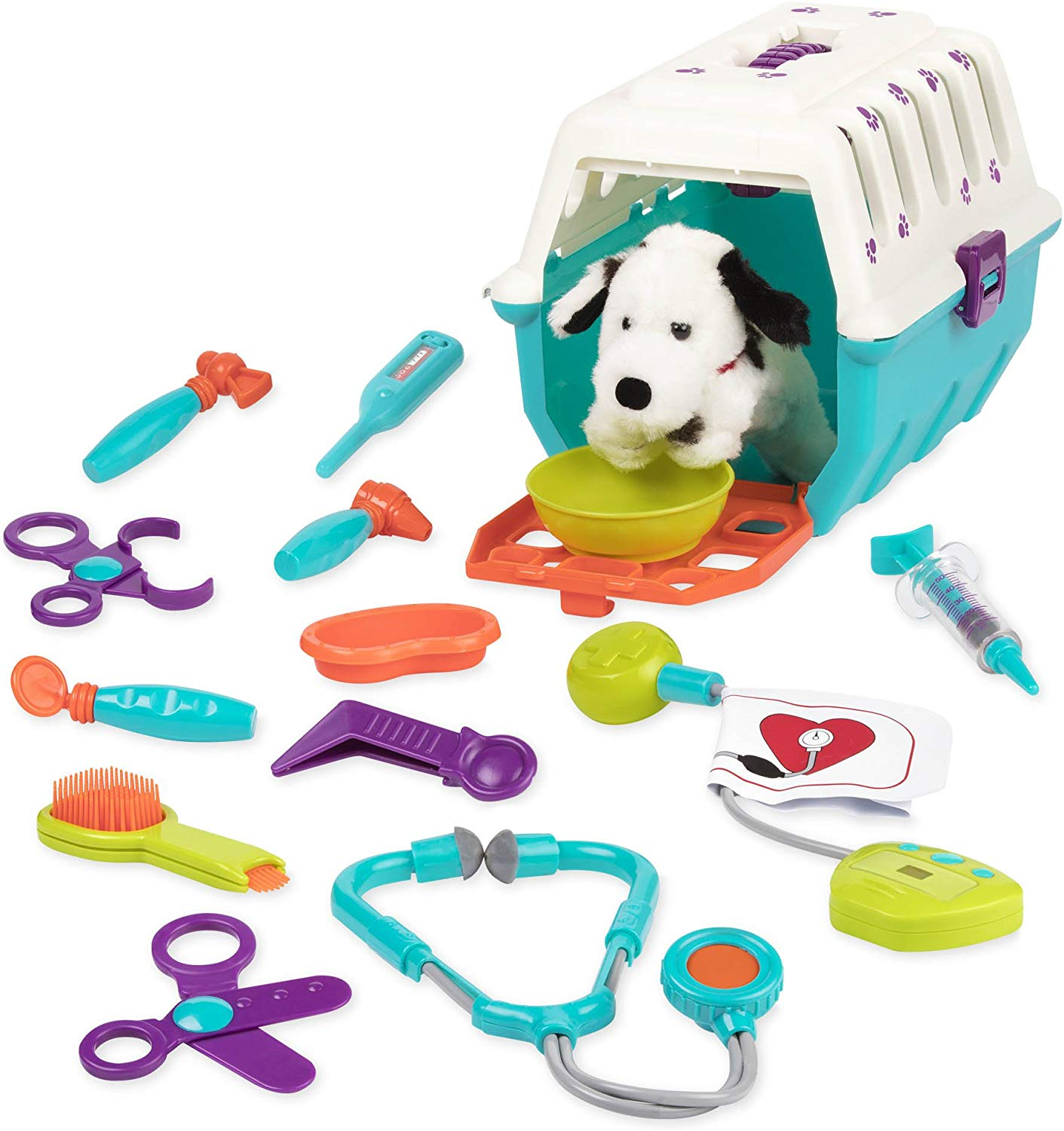 Battat Dalmatian Vet Kit Interactive Vet Clinic And Cage Pretend Play For Kids Pieces