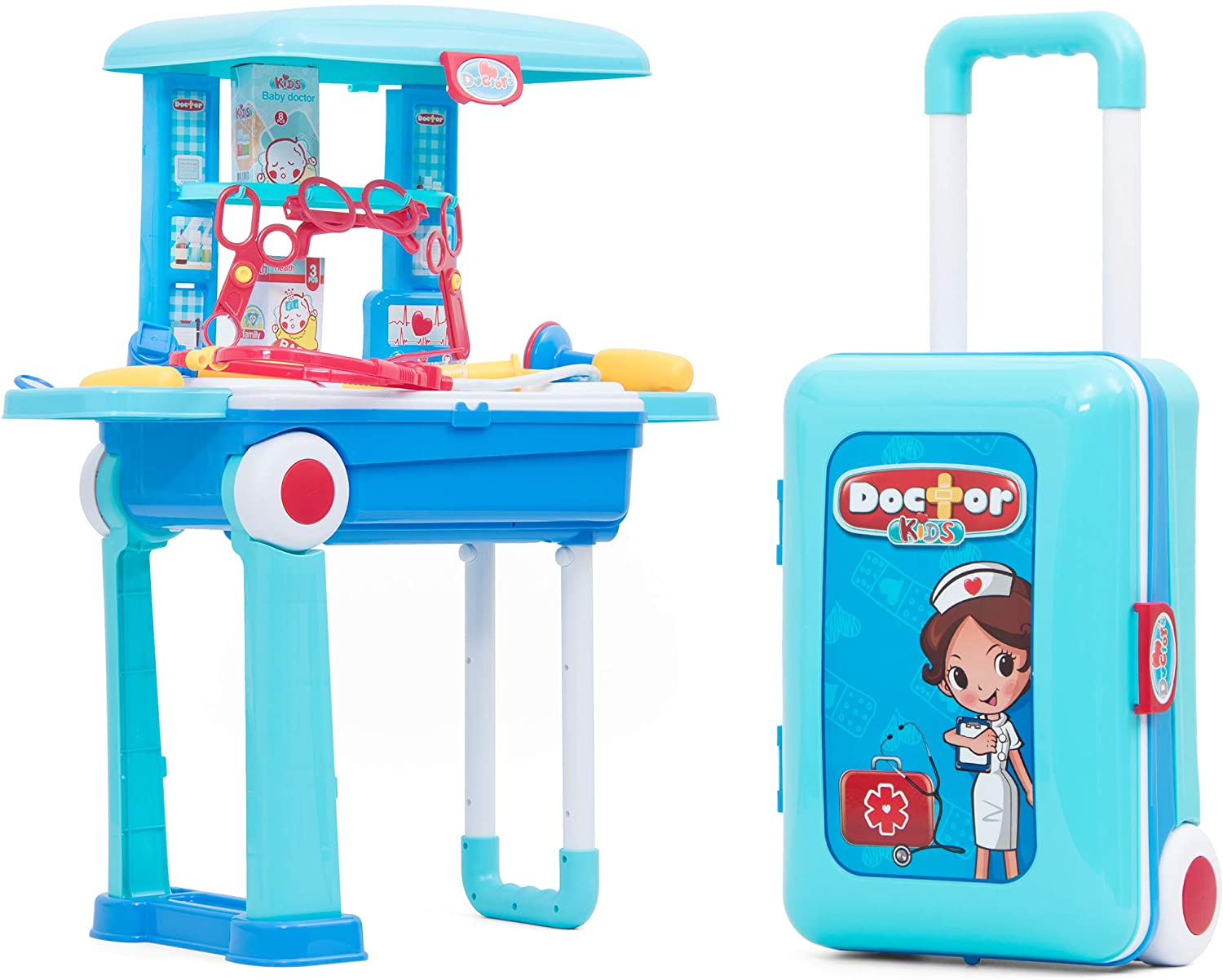 Becko Us Fondear Doctor Toy Play Set Doctor Playset Toy Medical Kits For Kids Pretend Play Toy For Children Blue